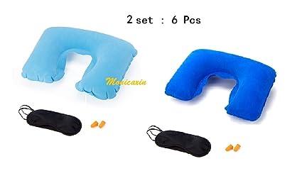 Monicaxin - Dos juegos de antifaz, almohada cervical hinchable y tapones para los oídos, ideales para viajar en tren, en avión o en coche, para viajes ...