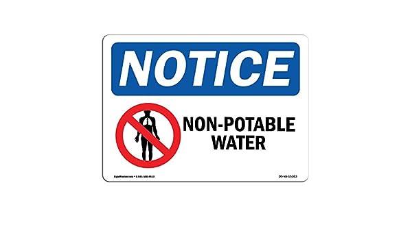 Letrero con símbolo de agua no potable, de la marca OSHA con ...