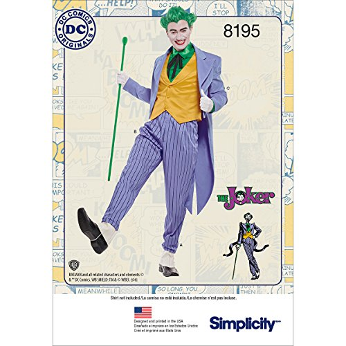 Simplicity 8195 DC Comics Men's Joker Halloween and Cosplay Costume Sewing Pattern, Sizes 38-44]()