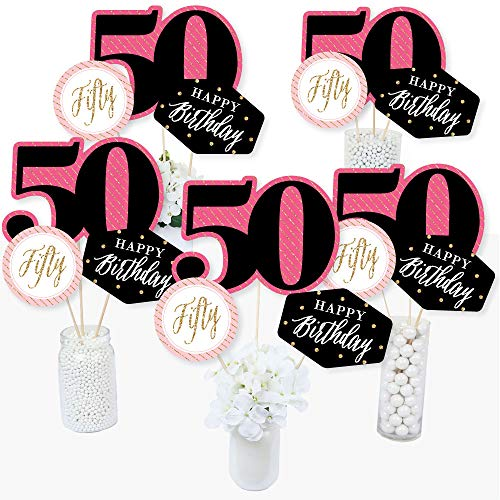 Chic 50th Birthday - Pink, Black and Gold - Birthday Party Centerpiece Sticks - Table Toppers - Set of 15