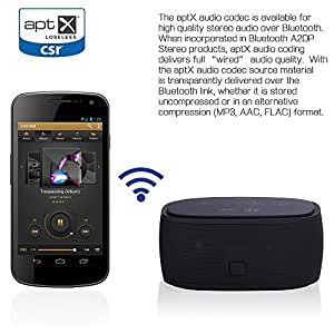 Build-in CSR® aptX & NFC Technology Wireless Bluetooth 3.0 Stereo Speaker 6 Watt Dual Speakers System (2*3W) 1200 mAh Li-ion Battery Super Bass Booster Powerful Crystal-Clear Sound for iPhone 6 6Plus iPad air and All Bluetooth Enable Devices