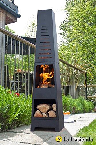 (free cover) La Hacienda Skyline Black Steel Garden Chiminea With Laser Cut Design 150cm High