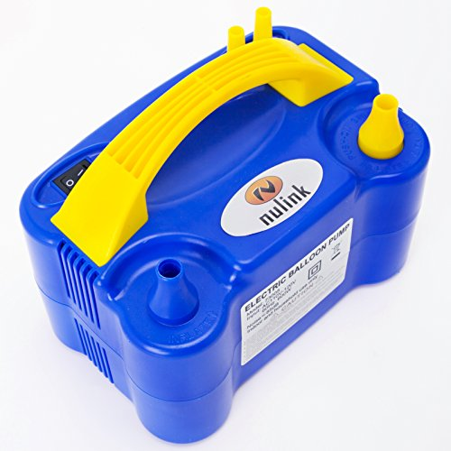 Nozzle Royal - NuLink Electric Portable Dual Nozzle Balloon Blower Pump Inflation for Decoration, Party, Sport [110V~120V, 600W, Royal Blue]