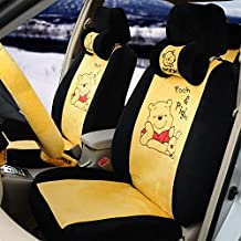 1 Sets Classical Cartoon Pooh Yellow Black Universal Car Seat Covers Car Steering Wheel Cover