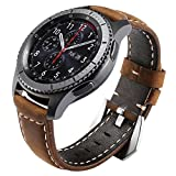(US) Maxjoy for Gear S3 Bands, S3 Frontier/Classic Watch Band 22mm Genuine Leather Strap Soft Replacement Wristband Bracelet with Stainless Steel Buckle Clasp for Samsung Gear S3 Sport Smart Watch, Brown