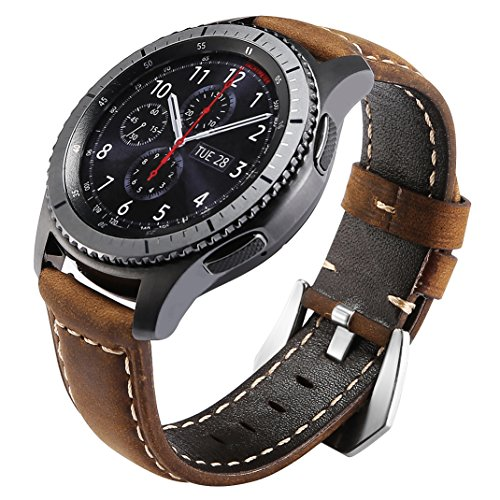 Cheap Smart Watch Bands Maxjoy for Gear S3 Bands, S3 Frontier/Classic Watch Band 22mm Genuine Leather..