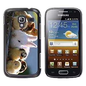 TopCaseStore / la caja del caucho duro de la cubierta de protección de la piel - Cute Chicks & Rabbit - Samsung Galaxy Ace 2 I8160 Ace II X S7560M