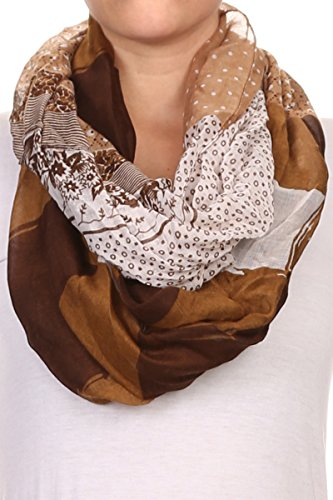 AN Brown Print Infinity Scarves Lightwei - Brown Viscose Scarf Shopping Results