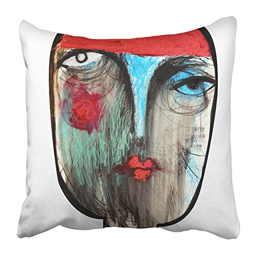 Emvency Decorative Throw Pillow Covers Cases Red Woman Fortune Teller Gypsy Abstract Money Appearance Beautiful Black Cheating Color Colored 16x16 inches Pillowcases Case Cover Cushion Two Sided
