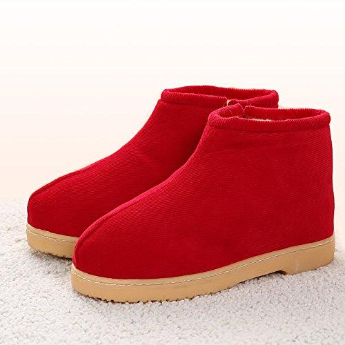 Rouge Chambre l'hiver antiglisse LaxBa hiver en Chaussons Chaussons nbsp;L'hiver Accueil chaleureux chaud chaussures 37 moelleux au Ofw6qtB