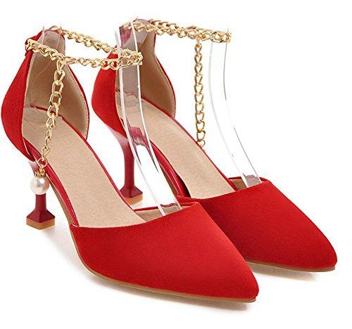 Aisun Rouge Escarpins Chaîne Femme Fille Perles Classique Métallique Mariage 080q1wr