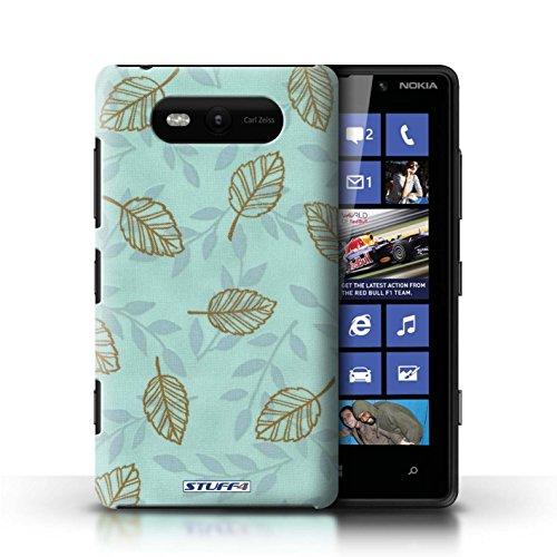 Etui / Coque pour Nokia Lumia 820 / Bleu/Marron conception / Collection de Motif Feuille/Branche