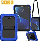 SEYMAC for Samsung Galaxy Tab A 10.1 Cover, Three Layer Heavy Duty Soft Silicone Bumper Shockproof Protective [Kickstand] [Shoulder Strap] Cover for Galaxy Tab A6 10.1'' 2016 SM-T580/T585 (Black/Blue)