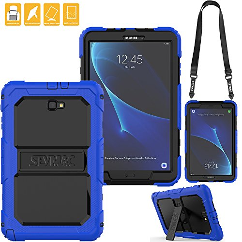 SEYMAC for Samsung Galaxy Tab A 10.1 Cover, Three Layer Heavy Duty Soft Silicone Bumper Shockproof Protective [Kickstand] [Shoulder Strap] Cover for Galaxy Tab A6 10.1'' 2016 SM-T580/T585 (Black/Blue) by SEYMAC