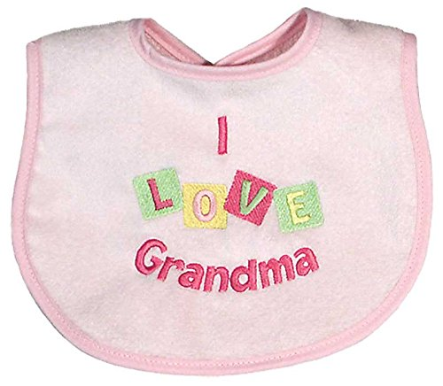 - Raindrops I Love Grandma Embroidered Bib, Pink