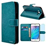 Samsung Galaxy J7 / J700 Case, INNOVAA Premium Leather Wallet Case (Not Compatible with Samsung Galaxy J7 (2016)) With STAND Flip Cover W/ Free Screen Protector & Stylus Pen - Teal
