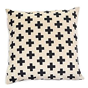 TAOSON Black Swiss Cross Scandinavian Cotton Linen Throw Pillow Case Pillow Cover Decorative Cushion Cover Square 18x18 Inch 45x45cm