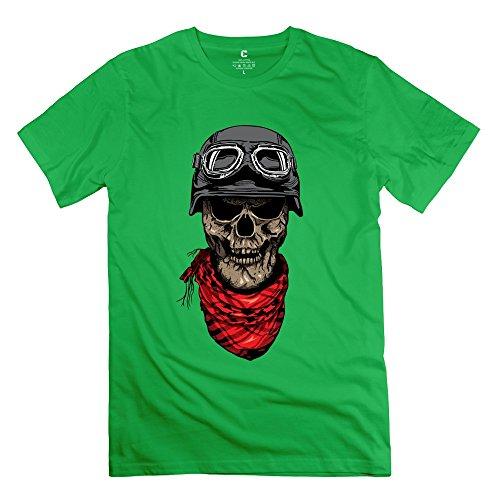 Leberts Classic Cool Skull Man T-Shirt For Men ForestGreen Size XS