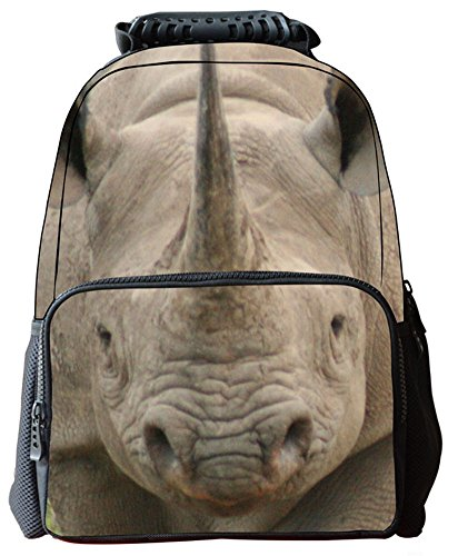 Rosing House Outdoor 3D Animal laptop Casual Cute Backpack (Rhinoceros) by Rosing House (Image #9)
