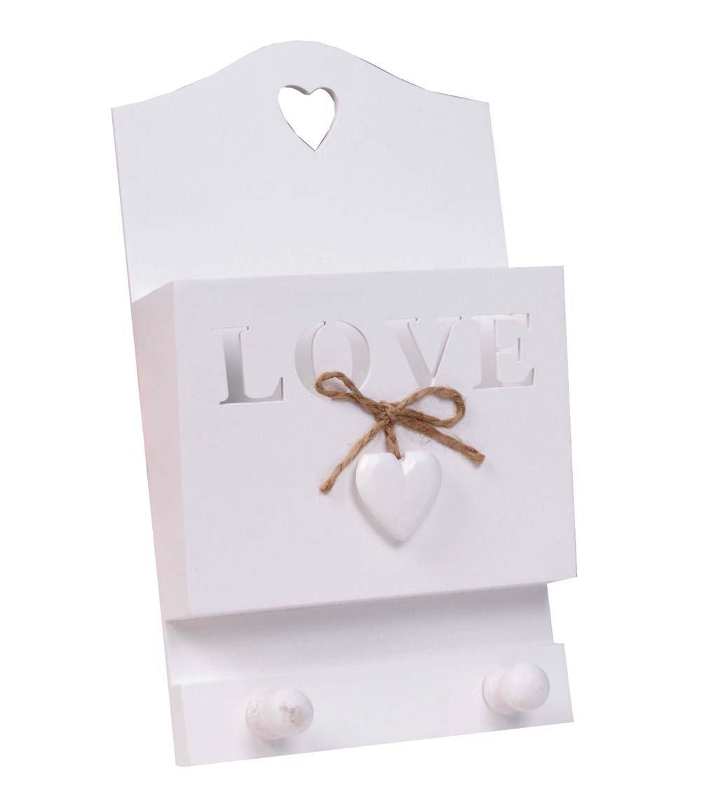 Charming House Design Encantador dise/ño de casa Postal de Madera//Correo y Llavero Estilo Shabby Chic Love Blanco