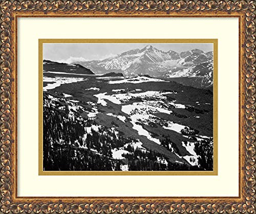 (Framed Wall Art Print | Home Wall Decor Art Prints | View of Plateau, Snow Covered Mountain in Background, Longs Peak, in Rocky Mountain National Park, C by Ansel Adams | Traditional Decor)