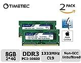 Timetec Hynix IC Apple 8GB Kit (2x4GB)  DDR3 1333MHz PC3-10600 SODIMM Memory upgrade For MacBook Pro 13/15/17 inch Early/Late 2011,iMac 21.5-inch Mid/Late 2011,27-inch Mid 2011,Mac mini 5,1 & 5,2 Mid 2011 (High Density 8GB Kit (2x4GB))