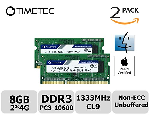 Timetec Hynix IC Apple 8GB Kit (2x4GB)  DDR3 1333MHz PC3-10600 SODIMM Memory upgrade For MacBook Pro 13/15/17 inch Early/Late 2011,iMac 21.5-inch Mid/Late 2011,27-inch Mid 2011,Mac mini 5,1 & 5,2 Mid 2011 (High Density 8GB Kit (2x4GB)) (Apple Mac Pro Memory)