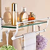 ZXUE Bathroom Furniture Rack Glass Bathroom Wall Hanging Bathroom Stainless Steel Storage Rack Towel Bar Wall Wall Hanging Rack (Color : B, Size : 500135155mm)