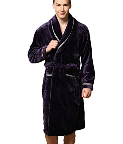 aa684c0ebc60 Image Unavailable. Image not available for. Color  JBHURF Autumn and Winter  Flannel Robes Bathrobe Casual Home Service Men s Coral Pajamas Purple