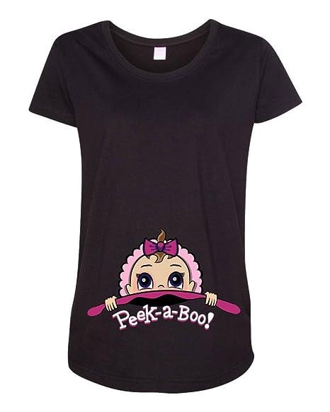 2c4ade6a247ff Amazon.com: Baby Girl Peek A Boo Cute Maternity DT T-Shirt Tee: Clothing