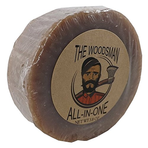 Natural Bar Soap Woodsman Scented All-In-One Puck Soap - For Hair, Skin, and Beards - Local Handcrafted - Soapworks Bar Scented Soap