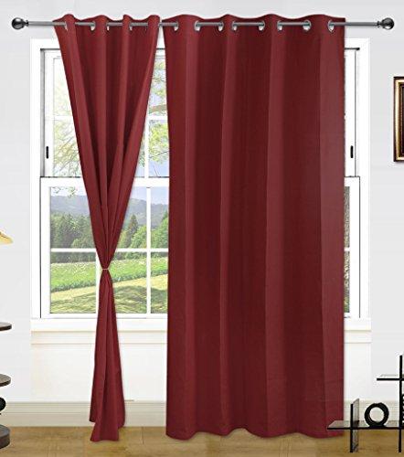 Dekor World Maroon Cotton Curtain Set -7 Feet Long Curtains-