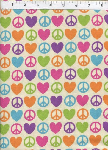 David Textiles Groovy Peace Signs Love Hearts Cream Fabric for $<!--$5.95-->