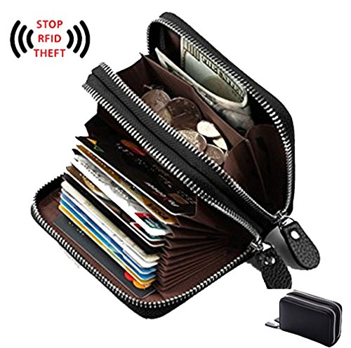 Women's Genuine Leather RFID Secured Spacious Cute Zipper Card Wallet Small Purse (Black)