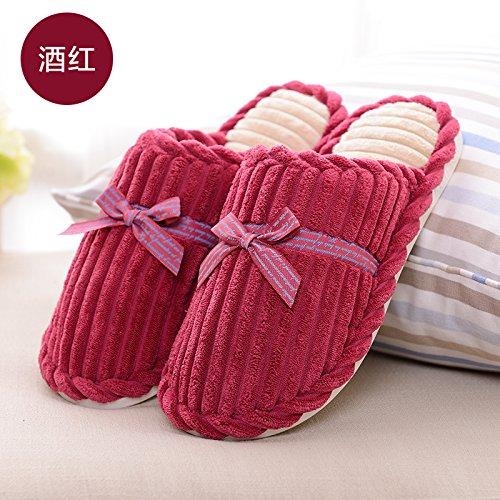 Habuji inverno piscina carina uomini e donne pantofole in cotone con calda casa famiglia di spessore non-slip pantofole, 39-40, vino rosso