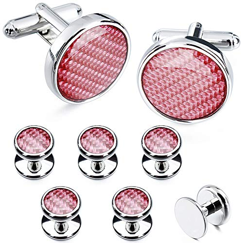 HAWSON Carbon Fiber Cuff Links and Tuxedo Studs Set - Wedding Business Gift