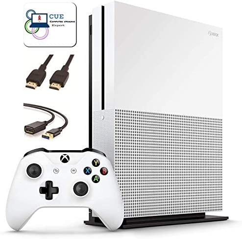 Microsoft Xbox One S 1TB Console, White, with One Xbox Wireless Controller, 4K Ultra Blu-ray and 4K Video Streaming, Family Christmas Holiday Bundle + CUE Accessories