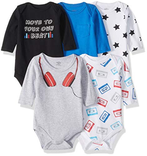 Little Treasure Unisex Baby Cotton Bodysuits, Headphones 5-Pack Long-Sleeve, 0-3 Months ()