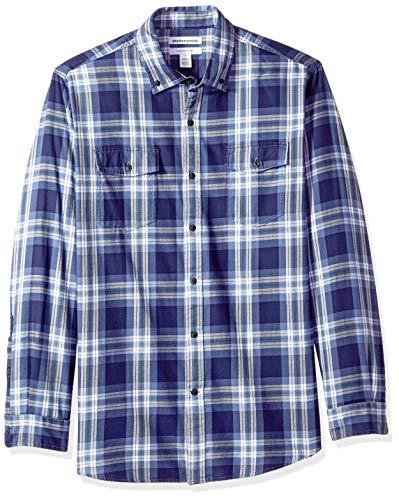 Amazon Essentials Men's Regular-Fit Long-Sleeve Two-Pocket Twill Shirt, Blue Plaid, - Two Pocket Plaid