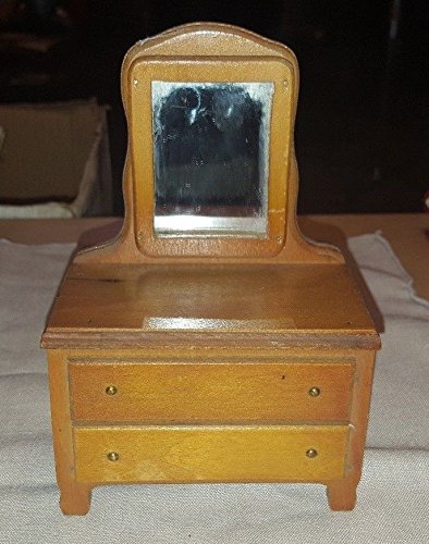 Vintage MADE IN USA Dollhouse Miniature Furniture Vanity Dresser w Mirror
