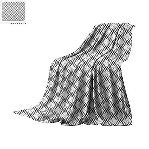 Luoiaax Plaid Warm Microfiber All Season Blanket Monochromatic Diagonal Pattern with Checks and Stripes Dashed Lines Celtic Classic Summer Quilt Comforter 80