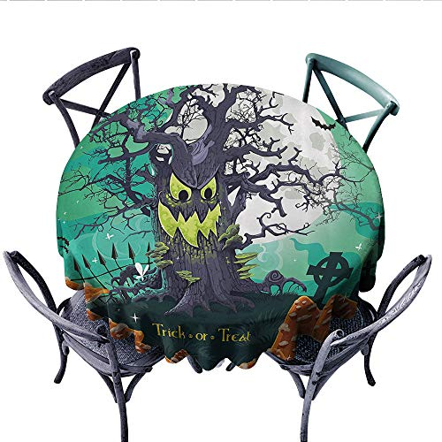 Halloween Dinning Tabletop DecorTrick or Treat Halloween Theme Dead Forest with Spooky Tree Graves Big Mushrooms Kids Cartoon Dust-Proof Round Tablecloth (Round, 54 Inch, Multi)]()