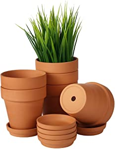 Kosrtuny 4 Inch Terra Cotta Pots with Saucer-6 Pack Succulent Cactus Plant Pots with Drainage Hole ,Great for Plants Garden Windowsill Indoor & Outdoor Wedding Favors Gifts