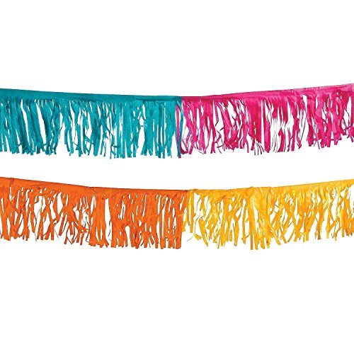 Fun Express Paper Fiesta Fringe Garland for Mexican & Cinqo De Mayo Parties | 39' (Two-Pack)