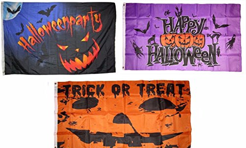 ALBATROS 3 ft x 5 ft Happy Halloween 3 Pack Flag Set #54 Combo Banner Grommets for Home and Parades, Official Party, All Weather Indoors Outdoors ()