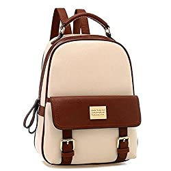 Your Gallery Retro Student Faux Leather Schoolbag Shoulder Bag Travel Preppy Rucksack