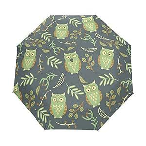 yochoice Vintage Animal de búho verde hojas plegable automática paraguas, 3-fold compacto Fashion paraguas de viaje