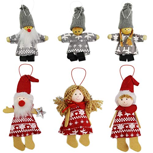 Ornament Angel Snowman (Athoinsu 6pcs Knitted Doll Christmas Tree Decorations Snowman Boy Girl Angels Hanging Ornaments Sets Holiday Indoor Party Favor Seasonal Decor (Style 5))