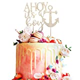 A HOY It's a boy Welcome Little One Nautical Rhinestone Gold Metal Bling Cake Topper Party...