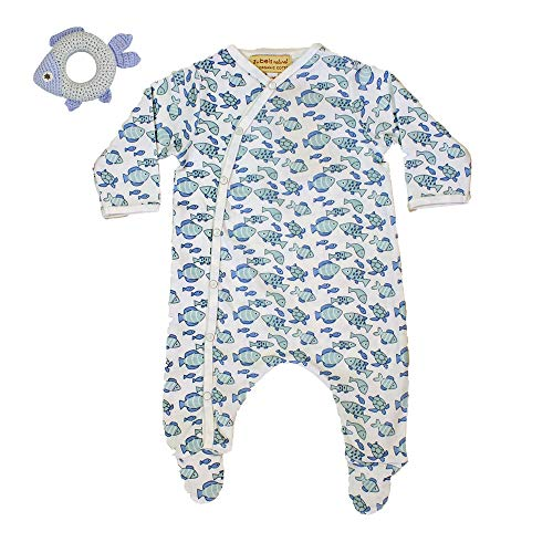 Fish Cotton Tee Organic - Zubels Baby Boys' Knit Organic Fish Print Footsie & Fish Rattle, Newborn, Blue